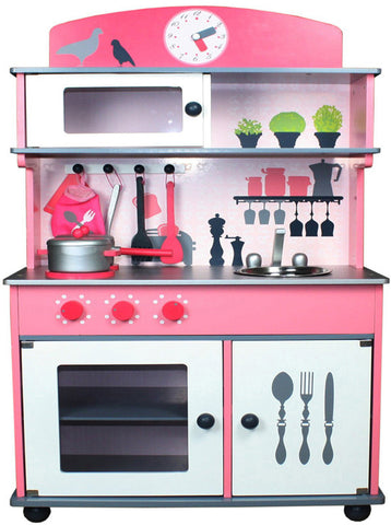 Berry Toys W10C026 My Very Own Pink Wooden Play Kitchen - Peazz.com