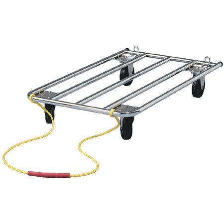 Tubular Crate Dolly with Rugged 5in Wheels swivel front rigid back and heavy nylon pull handle with comfortable rubber hose grip 42L X 24W - Peazz.com