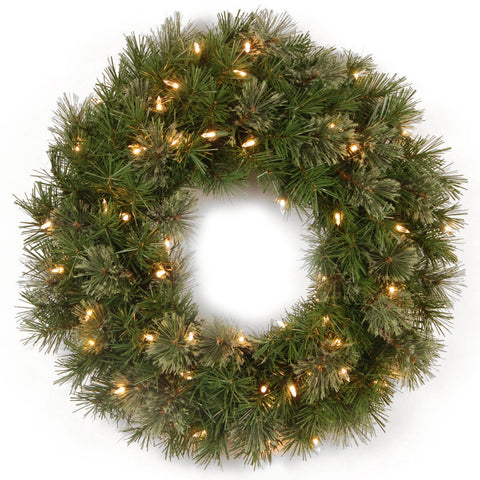 "National Tree AT7-300-24W 24"" Atlanta Spruce Wreath with 50 Clear Lights - Peazz.com"