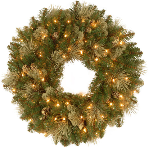 "National Tree CAP3-306-24W 24"" Carolina Pine Wreath with 10 Flocked Cones and 50 Clear Lights-UL - Peazz.com"