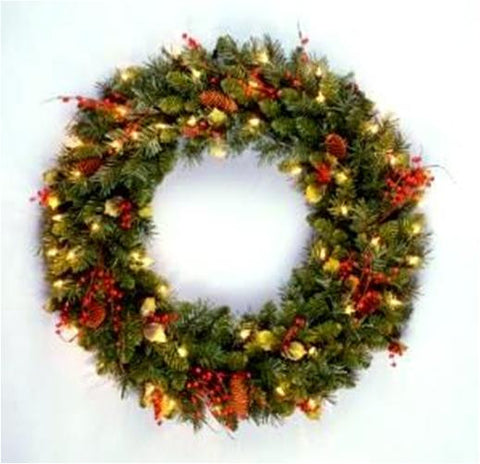 "National Tree CC1-301-24W 24"" Classical Collection Wreath with Red Berries, Cones, Holly Leaves and 50 Clear Lights - Peazz.com"
