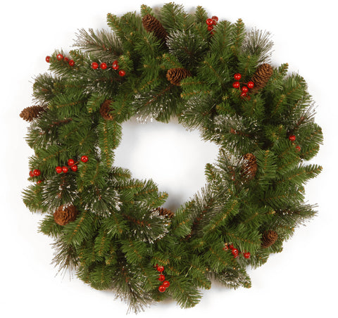 "National Tree CW7-10-24W 24"" Crestwood Spruce Wreath with Silver Bristle, Cones, Red Berries and Glitter - Peazz.com"