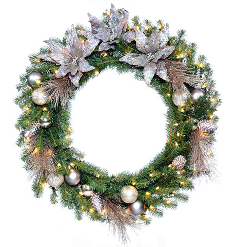 "National Tree DC13-160L-30W-1 30"" Decorative Collection Metallic Wreath with 50 Clear Lights - Peazz.com"
