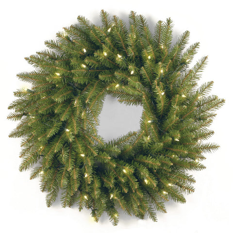 "National Tree DU-24WLO 24"" Dunhill Fir Wreath with 50 Clear Lights-UL - Peazz.com"