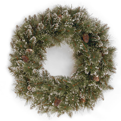 "National Tree GB1-10-24W-1 24"" Glittery Bristle Pine Wreath with 15 Pine Cones - Peazz.com"