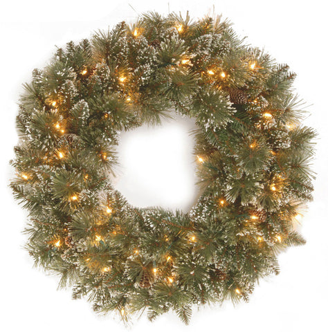 "National Tree GB3-300-30W 30"" Glittery Bristle Pine Wreath with 50 Clear Lights - Peazz.com"