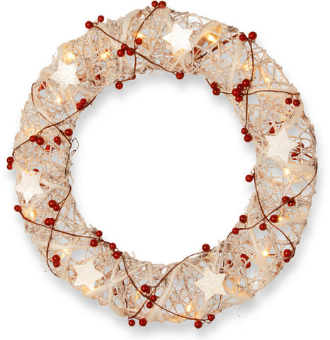 "National Tree MZWR-301-18W-1 18"" White Rattan Wreath with Red Berries and 20 Clear Lights - Peazz.com"