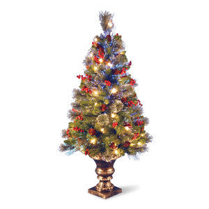 National Tree SZCW7-105-40 4' Fiber Optic Crestwood Spruce Tree w/ Cones, Glitter, Red Berries in Gold Pot - Peazz.com