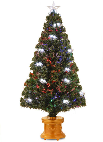 "National Tree SZDB7-111-48 48"" Fiber Optic Double Bell Tree in Gold Column Base - Peazz.com"