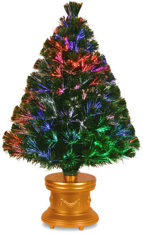 "National Tree SZEX7-100-36-1 36"" Fiber Optic ""Evergreen"" Firework Tree with  and Gold  Base - Peazz.com"