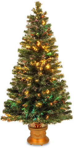 "National Tree SZEX7-100-60 60"" Fiber Optic ""Evergreen"" Firework Tree with Gold  Base - Peazz.com"
