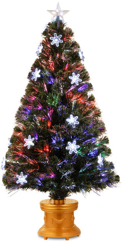 "National Tree SZFB7-119-48 48"" Fiber Optic Fireworks ""Snowflake"" Tree with Clear Top Star in Gold Column Base - Peazz.com"