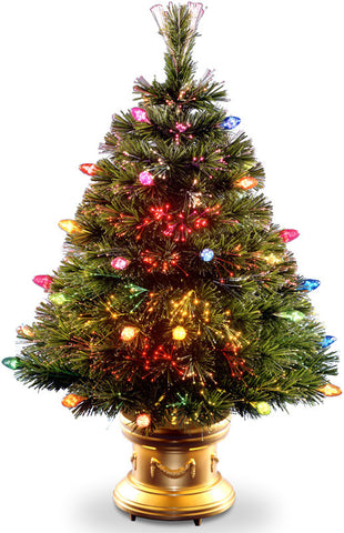 "National Tree SZFC7-100R-48 48"" Fiber Optic Tree with Multi Faceted Bulbs and Gold  Revolving LED Base - Peazz.com"
