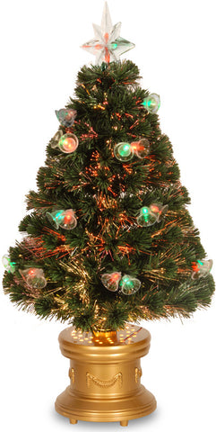 "National Tree SZFX7-165-36 36"" Fiber Optic Fireworks Tree with Double Bells and Gold LED Base - Peazz.com"
