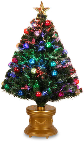 "National Tree SZOX7-100-36-1 36"" Fiber Optic Fireworks Red, Green, Blue & Gold Fiber Inner Ornament Tree with Top Star and - Peazz.com"