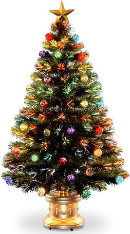 "National Tree SZOX7-100-48 48"" Fiber Optic Fireworks Red, Green, Blue & Gold Fiber Inner Ornament Tree with Top Star and - Peazz.com"