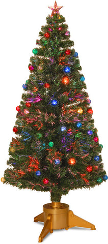 "National Tree SZOX7-100R-72 72"" Fiber Optic Fireworks Red, Green, Blue & Gold Fiber Inner Ornament Tree with Top Star and GoldRevolving LED Base - Peazz.com"