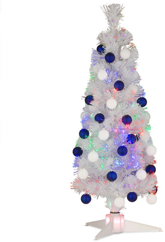 "National Tree SZOX7-174-36 36"" Fiber Optic Fireworks White Ornament Tree with White/Blue Shiny Matte Tree in a White Plastic Stand with LEDs - Peazz.com"