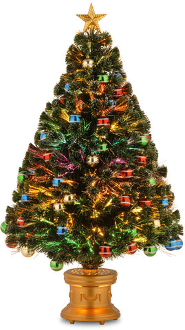 "National Tree SZOX7-176-48 48"" Fiber Optic Fireworks Glittered Balls Red, Green, Blue & Yellow Ornament Tree with Gold Top Star in Gold Base - Peazz.com"