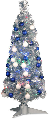 "National Tree SZOX7-177-36 36"" Fiber Optic Fireworks Silver Tinsel Tree with 48 Shiny Ornament Balls in a Silver  Base - Peazz.com"