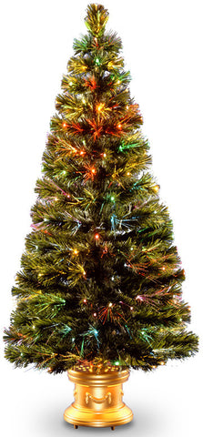"National Tree SZRX7-100-60 60"" Fiber Optic ""Radiance"" Fireworks Tree with  Gold Base - Peazz.com"