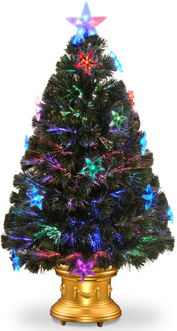 "National Tree SZSX7-112-36 36"" Fiber Optic Fireworks Tree with Clear Star, Gold Column Urn with LEDs Inside - Peazz.com"