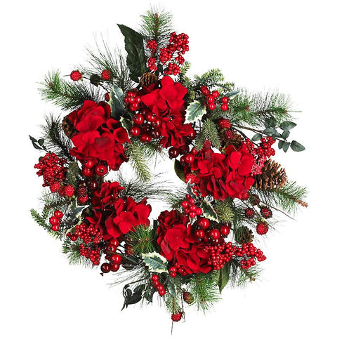 "22"" Hydrangea Holiday Wreath - Peazz.com"