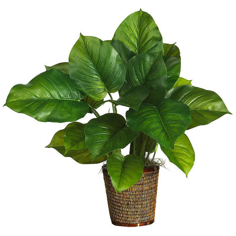 "29"" Large Leaf Philodendron Silk Plant Real Touch - Peazz.com"