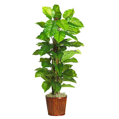 "63"" Large Leaf Philodendron Silk Plant Real Touch - Peazz.com"