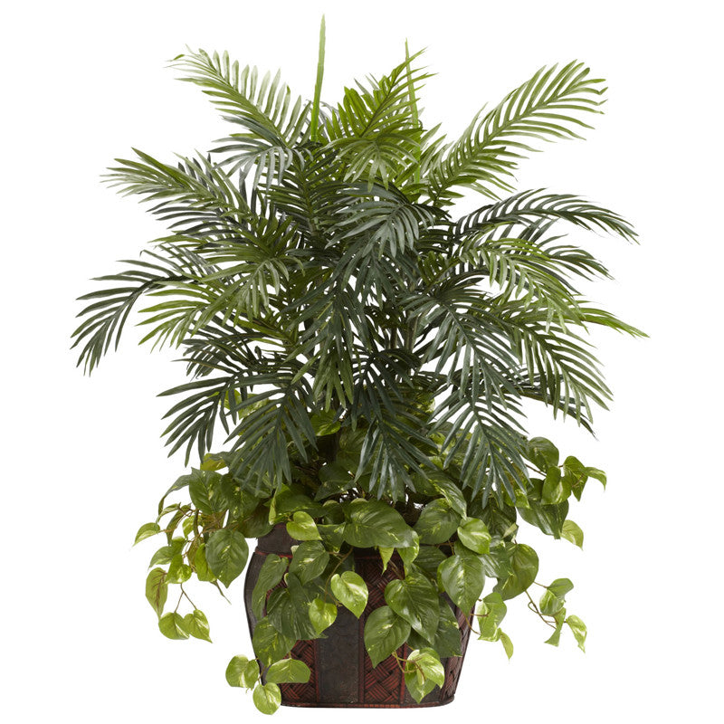 Nearly Natural 6633 3.5' Double Areca With Vase & Pothos Silk Plant