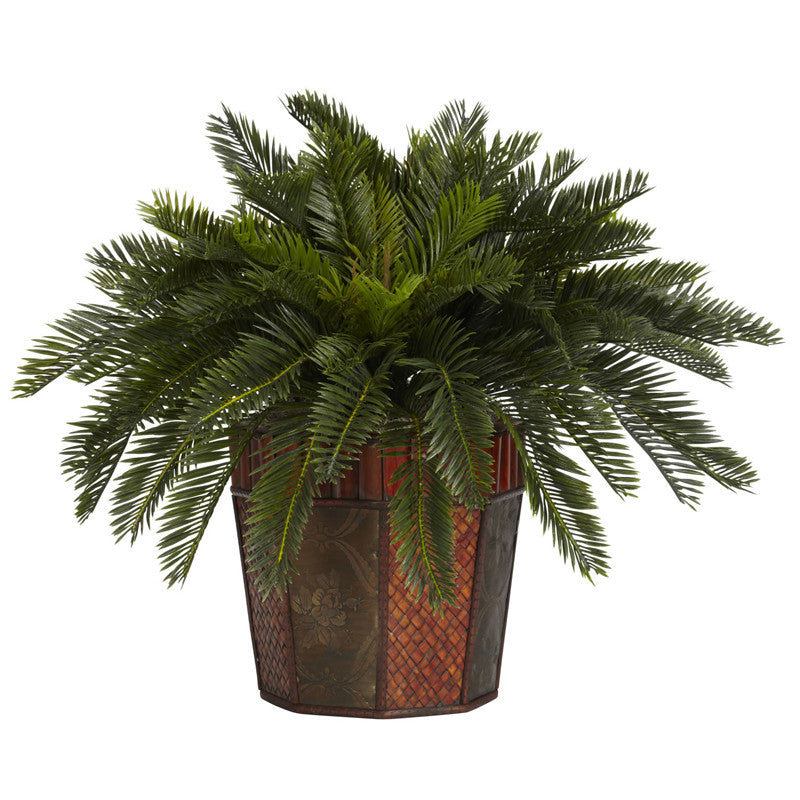 Nearly Natural 6654 Cycas With Octagon Vase Silk Plant