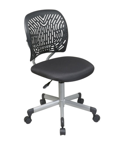 Office Star OSP Designs 166006-3 Designer Task Chair in Black Fabric and Plastic Back - Peazz.com