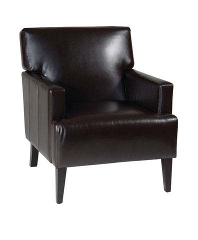Office Star Ave Six CAR51A-EBD Carrington Arm Chair in Espresso Eco Leather - Peazz.com