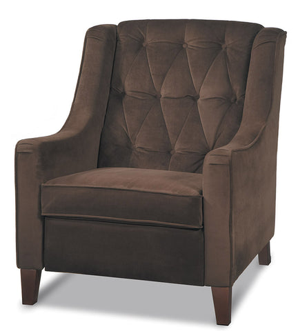 Office Star Ave Six CVS51-C12 Curves Tufted Accent Chair in Chocolate Velvet - Peazz.com