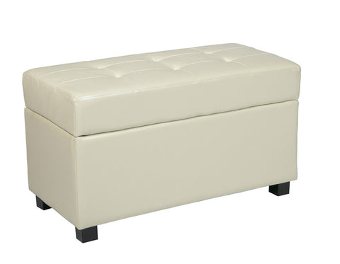 Office Star OSP Designs MET804CM Cream Faux Leather Storage Ottoman - Peazz.com