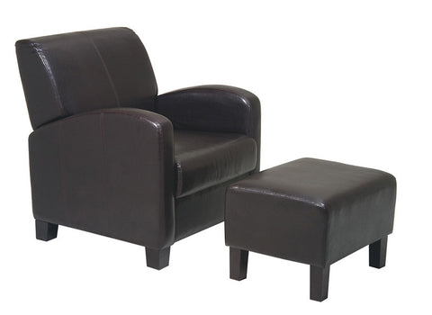 Office Star OSP Designs MET807 Espresso Faux Leather Club Chair with Ottoman - Peazz.com