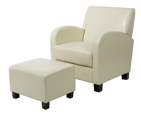 Office Star OSP Designs MET807CM Cream Faux Leather Club Chair with Ottoman - Peazz.com