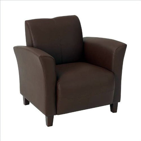 Office Star OSP Furniture SL2271EC9 Mocha Eco Leather  Breeze Club Chair with Cherry Finish Legs. Rated for 300 lbs of distributed weight.. Shipped Semi K/D. - Peazz.com