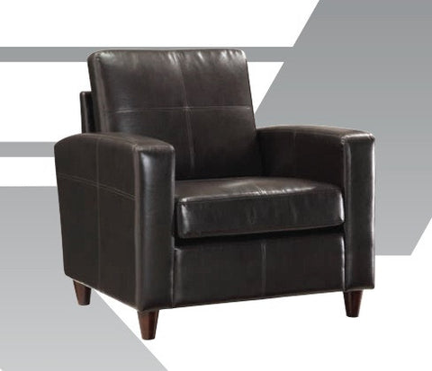 Office Star OSP Furniture SL2811-EC3 Black Eco Leather Club Chair with Espresso Finish Legs - Peazz.com