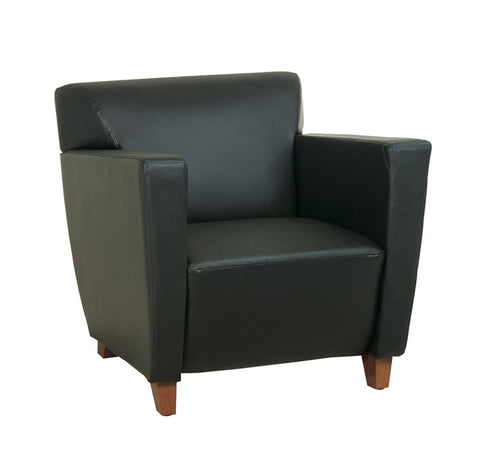 Office Star OSP Furniture SL8471 Black Leather Club Chair with Cherry Finish. Shipped Assembled with Legs Unmounted. Rated for 300 lbs. of distributed weight. - Peazz.com