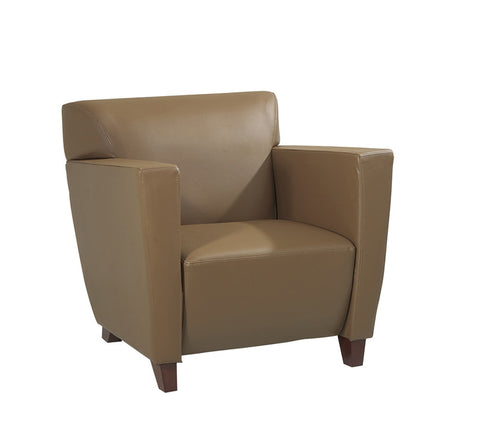 Office Star OSP Furniture SL8871 Taupe Leather Club Chair with Cherry Finish. Shipped Assembled with Legs Unmounted. Rated for 300 lbs. of distributed weight. - Peazz.com
