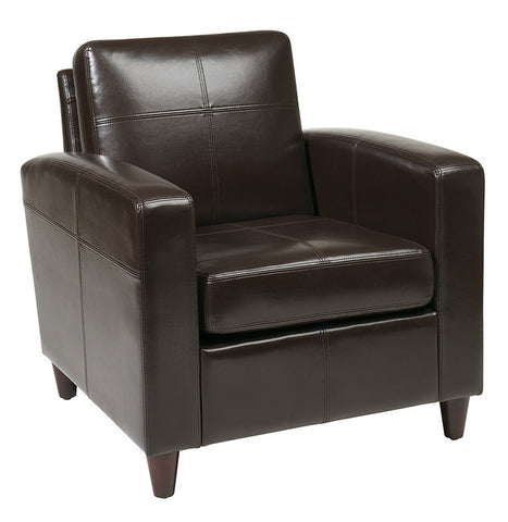 Office Star Ave Six VNS51A-EBD Venus Club Chair (Tool-Less Assembly) in Espresso Eco Leather - Peazz.com