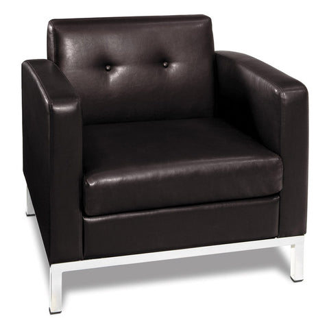 Office Star Ave Six WST51A-E34 Wall Street Arm Chair in Espresso Faux Leather - Peazz.com