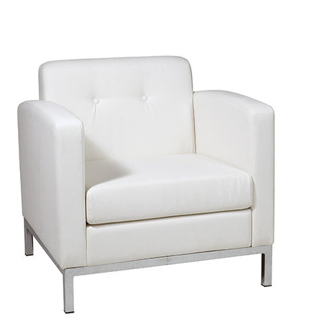 Office Star Ave Six WST51A-W32 Wall Street Arm Chair in White Faux Leather - Peazz.com