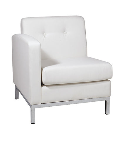 Office Star Ave Six WST51LF-W32 Wall Street Arm Chair LAF in White Faux Leather - Peazz.com