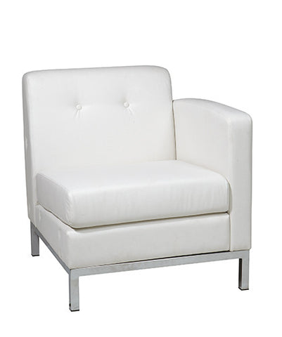 Office Star Ave Six WST51RF-W32 Wall Street Arm Chair RAF in White Faux Leather - Peazz.com