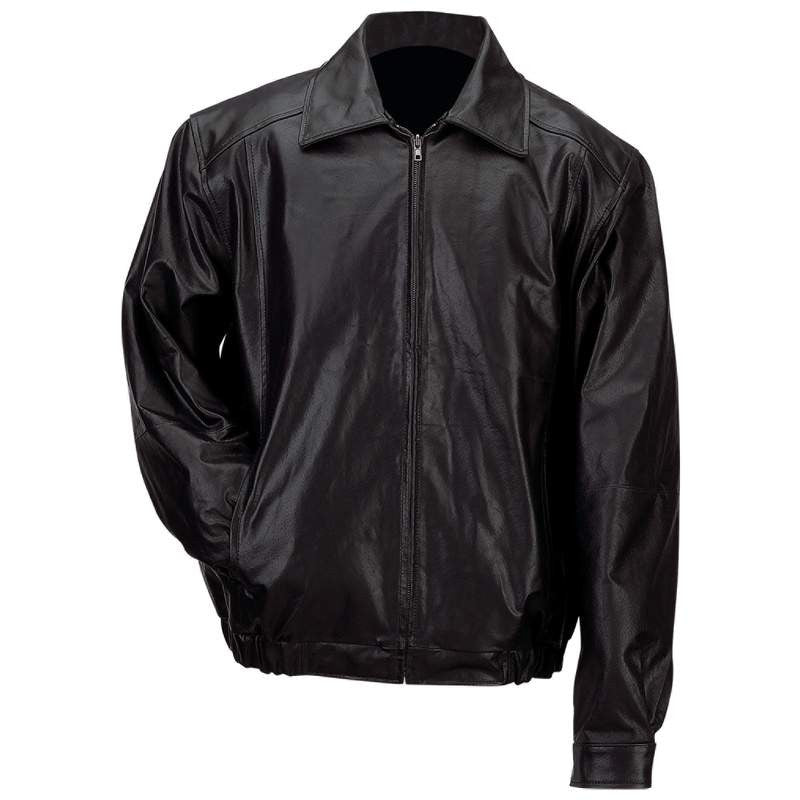 B & F System GFBSLXL Gianni Collani Mens Solid Genuine Leather Bomber-Style Jacket