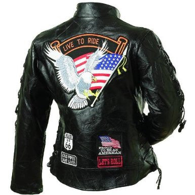 B&F System GFLADLTRM Diamond Plate Ladies Rock Design Genuine Buffalo Leather Motorcycle Jacket - Peazz.com