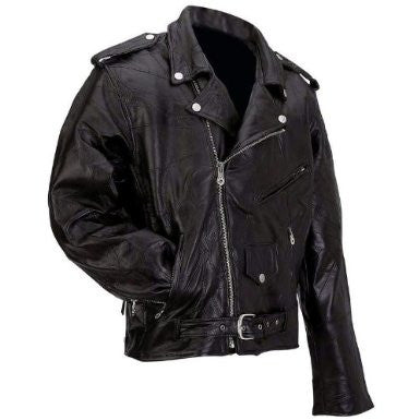 B&F System GFMOT5X Diamond Plate Rock Design Genuine Buffalo Leather Motorcycle Jacket - Peazz.com
