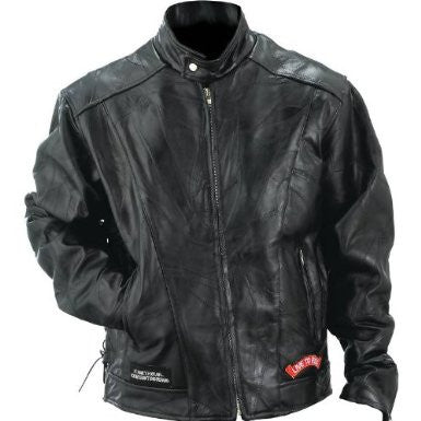 B&F System GFMOTL Diamond Plate Rock Design Genuine Buffalo Leather Motorcycle Jacket - Peazz.com